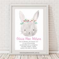 Pretty Bunny Birth Print