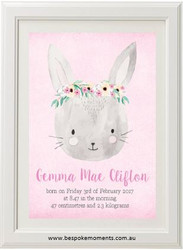 Pretty Bunny Pink Birth Print