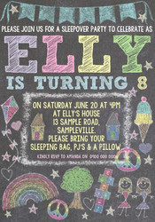 Coloured Chalk Birthday Invitation