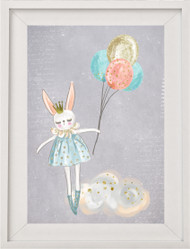 Floating Bunny Print - Grey