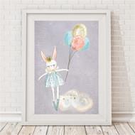 Floating Bunny Print - Grey