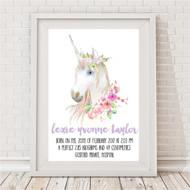 Unicorn Magic Birth Print