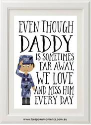 Daddy/Mummy We Miss You Print - Navy Uniform 2