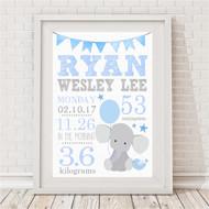 Blue Elephant Birth Print