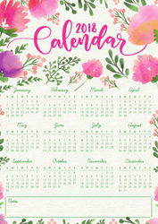 Free Printable - 2018 Floral Calendar