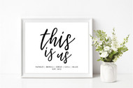 This Is Us Personalised Family Print
