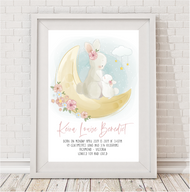 Bunny Love Birth Print