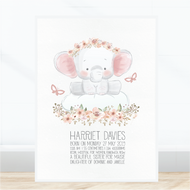 Cute Elephant Birth Print