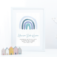 Blue Rainbow Birth Print