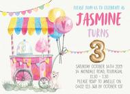 Candy Cart Birthday Invitation
