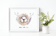 Mama's Nest Personalised Family Print (Egg Number changes per your family)