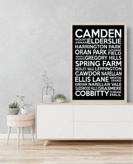 Camden NSW Full LGA List Bus Scroll Canvas (PRINT VERSION ALSO AVAILABLE ON SEPARATE LISTING)