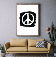 Industrial Brush Stroke Peace Sign Print