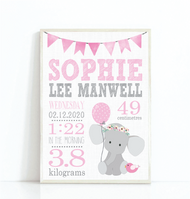 Pink  Elephant Birth Print