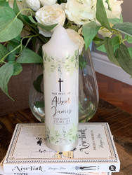 The Albert Leafy Green Baptism Candle