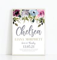Plum Floral Birth Print