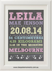 Girls' Chalk Birth Print