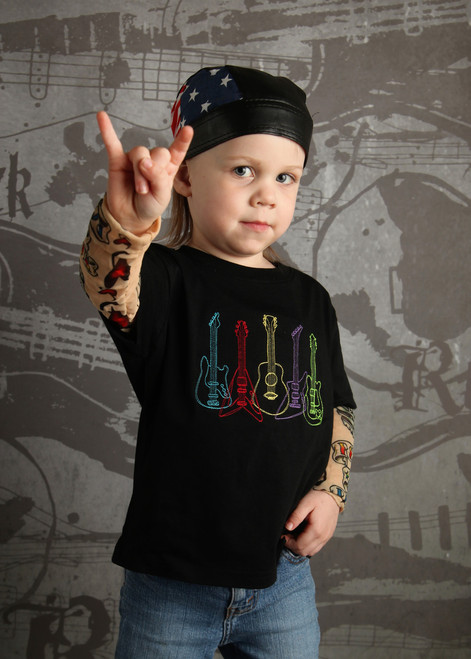 Rock star guitar tattoo tee