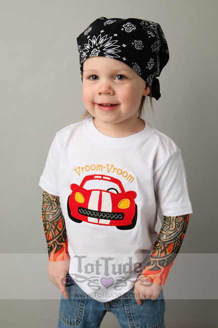 Race car flames tattoo tee