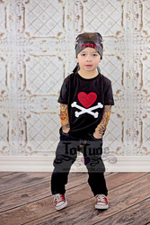 Heart and Crossbones T Shirt with Tattoo Sleeves