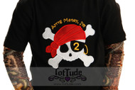 Pirate Birthday Applique Tattoo Sleeve Shirt