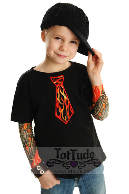 Tattoo Sleeve T shirt with Flames Tie