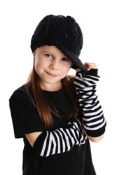 Punk Fingerless Gloves White Black Stripe