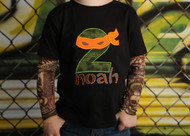 Ninja Turtle Birthday Tattoo Sleeve Shirt