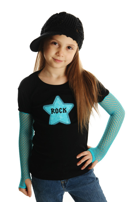 Punk Gloves and Diva Shirt with Rock Star Applique for Girls