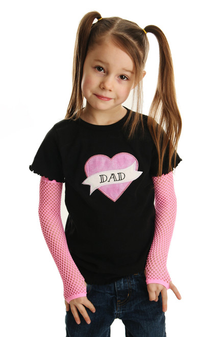 Tattoo Applique Shirt with Punk Gloves for Girls