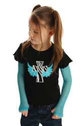 Cross with Wings Applique Punk Shirt with Fishnet Gloves
