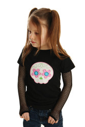 Skull Applique Shirt for Girls with Punk Gloves