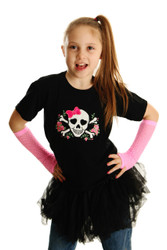 Punk Princess Girly Skull and Roses Applique Shirt with Punk Gloves
