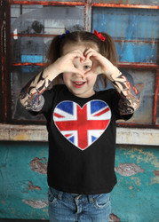 UK Heart Union Jack British Flag Embroidered Tattoo Sleeve Shirt