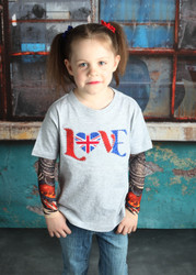 UK Love Union Jack British Flag Embroidered Tattoo Sleeve Shirt