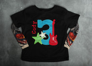 Rock Star Number Birthday Personalized Tattoo Sleeve Shirt