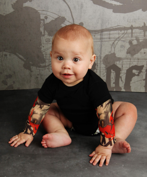 Cute Baby Biker Tattoo Bodysuit Romper