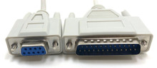 Serial Modem Cable DB9F to DB25M - 25ft