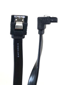"""40"""" SATA III 6 GB/s 180° (Straight) to 90° (Right Angle) Cable w/Locking Latch - Black"""