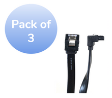 """40"""" SATA III 6 GB/s 180° (Straight) to 90° (Right Angle) Cable w/Locking Latch - 3 Pack - Black"""
