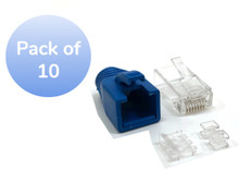 CAT 6A RJ45 Modular Connectors with boots and load bar (10 Pack)