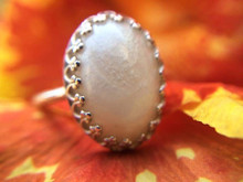 Breast Milk Stone Crown 14x10 mm Ring  - Sterling Silver
