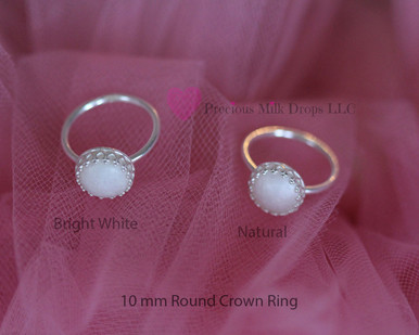 Bright white  Natural  10mm Round ring