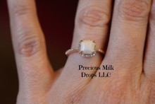14k Gold with Square diamond Halo Ring
