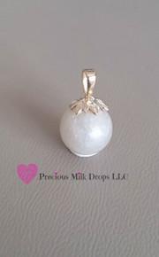 10mm 14K white Gold Leaves MilkDrop Pendant