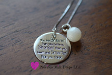 Braver Milk drop .925 Sterling Silver  necklase