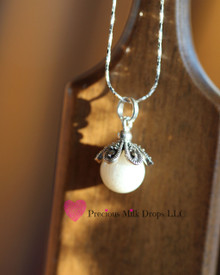 ***add on ***  Petals of love 10mm Milk Drop - Sterling Silver
