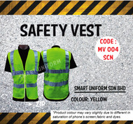 MV 004 Safety Vest Lime Green + Reflector with Zip
