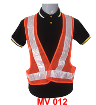 Safety Veck V Neck (Netting) with Orange+White