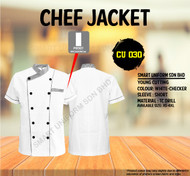 White Jacket  With Checker Piping Two Lines(Young Cutting)-CU030